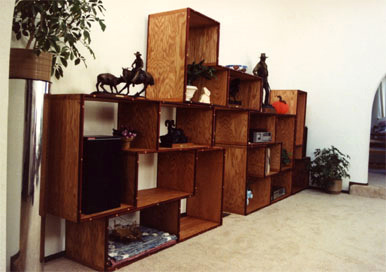 Tetris style rearrangable oak shelves