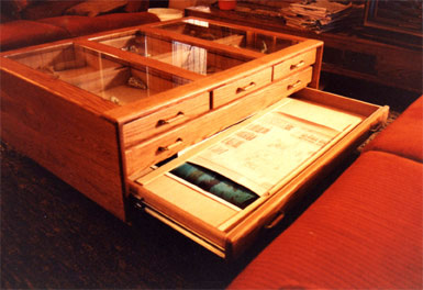 Coffee Table With Three Panel Glass Display Case - Drawers Open