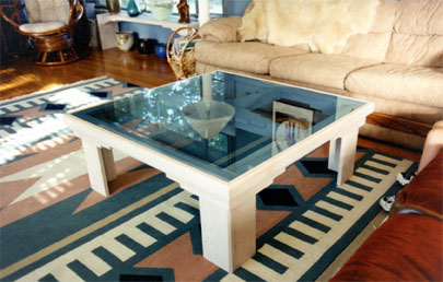 Oak Coffee Table With BLue Wash and Glass Top