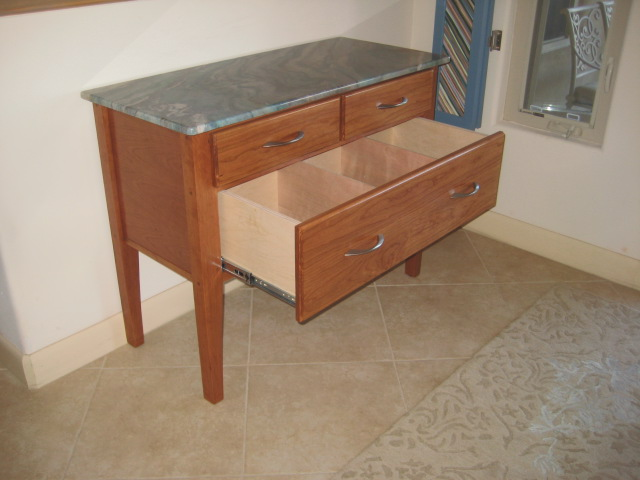 Granite-topped Curio Table drawer open