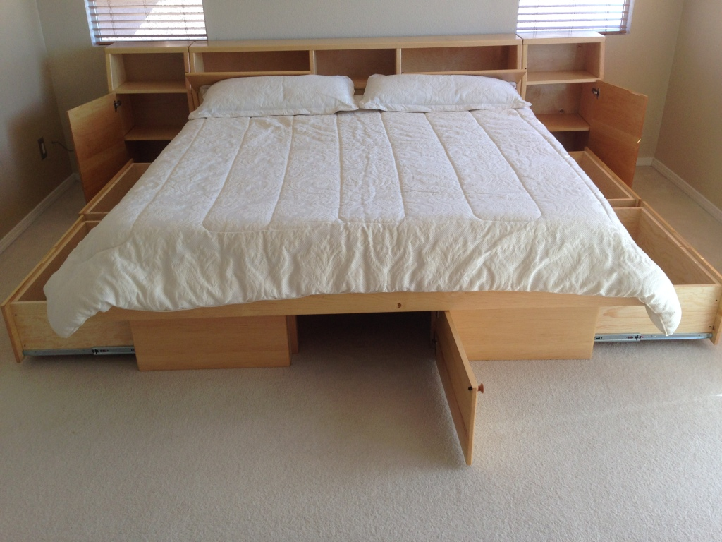 platform bed with storage open