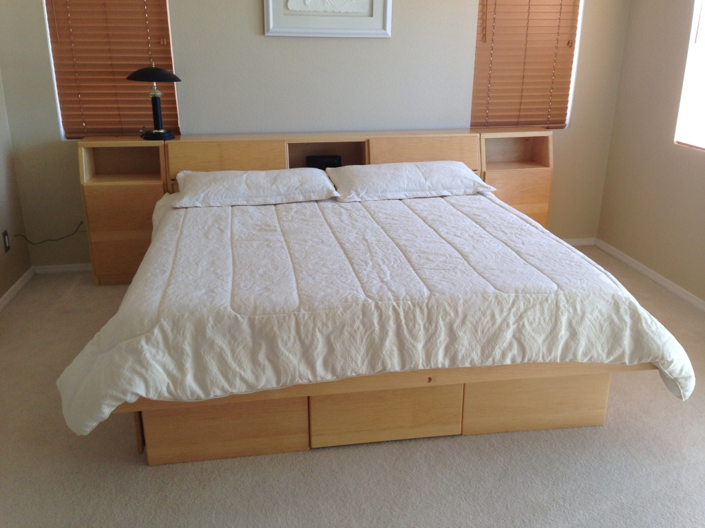 platform bed with underbed storage drawers and cavity