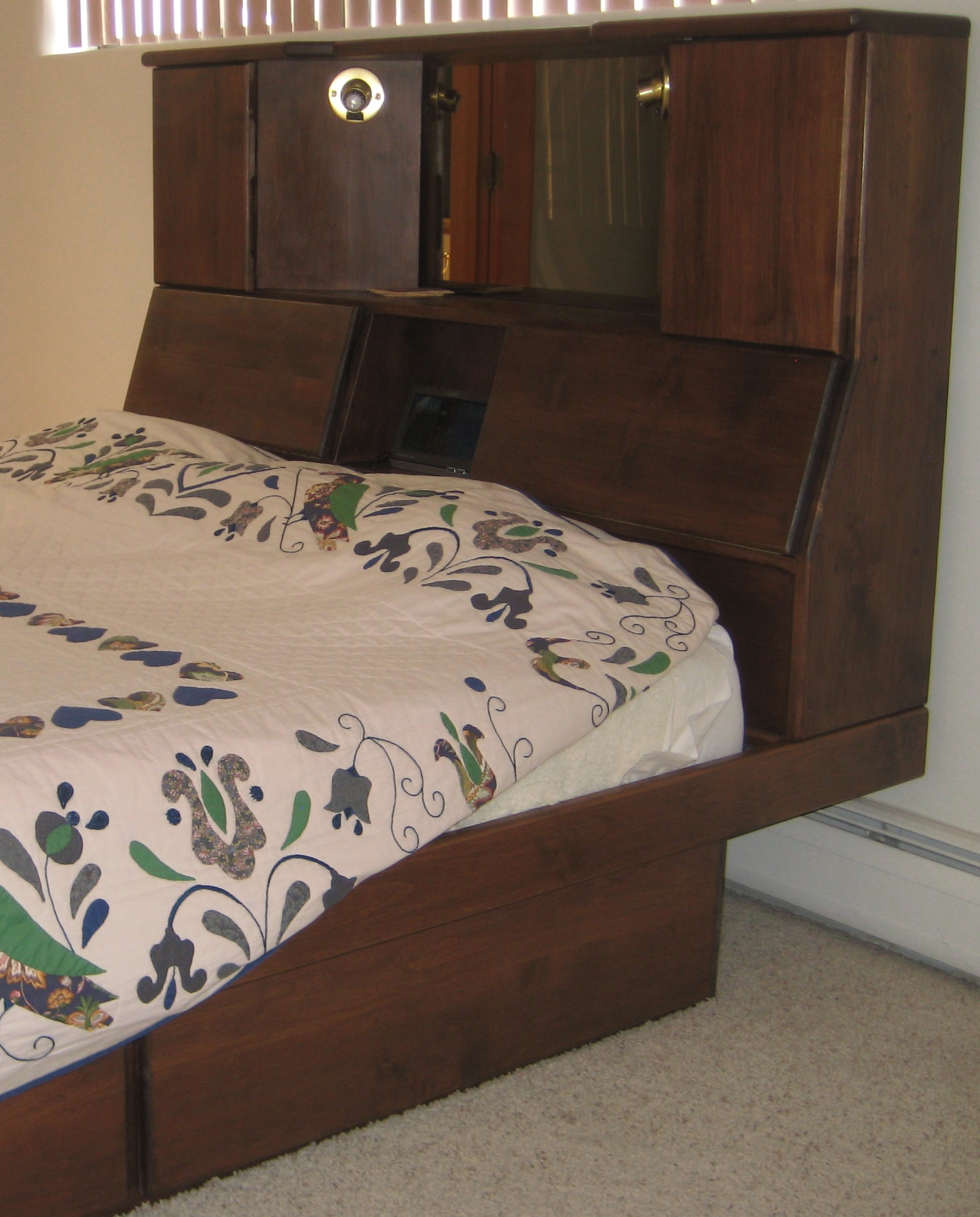 oak headboard with storage and lights