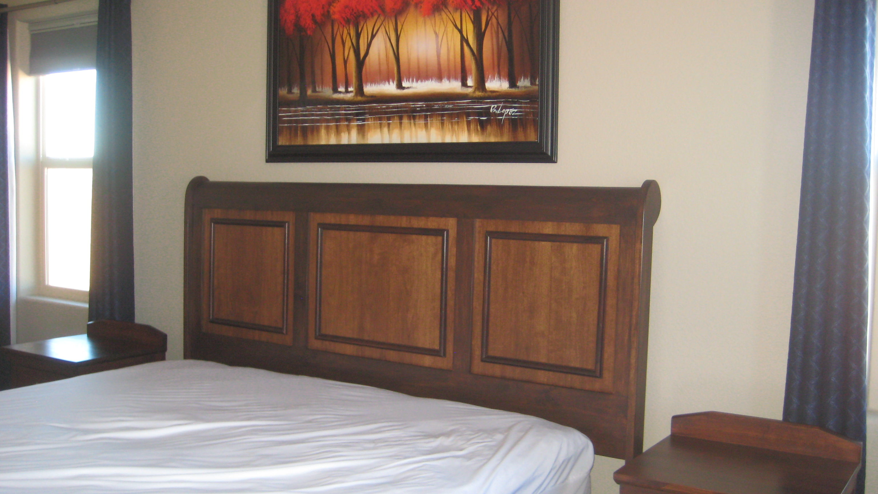 pedestal bed in Alder headboard